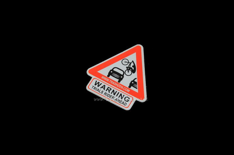 TrashZen: Trials Rider Ahead Sticker (50mm x 53mm)
